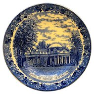 Historic Charlottesville Virginia Monticello Jonroth England Bedford Pottery Plate Blue