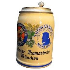 Paulaner Thomasbrau Munchen .5L German Stein Pewter Lid
