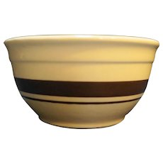 McCoy Cream Brown Stripe Mixing Bowl 7 IN Ovenproof USA