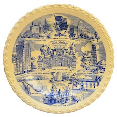 Vernon Kilns Blue Transferware Hot Springs Souvenir Plate