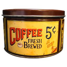 Mr Coffee Collector Tin Brown Vintage Advertising