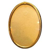 Gold Tone Oval Picture Frame Engraved Flowers Rim 5 1/4 x 7 1/4