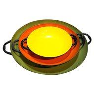 Enamel on Steel Earth Tones Saute Pans Nesting Set Green Orange Yellow