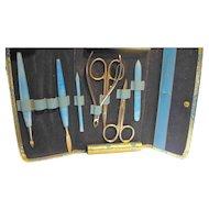 Sky Blue Manicure Set Germany Austria Ground Leather Case