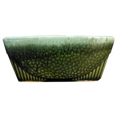 Hull Pottery Green Drip Rectangle Planter USA 75