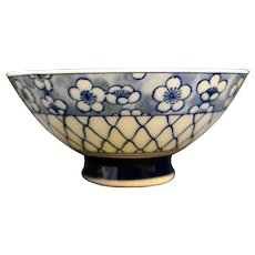 Hand Painted Blue White Rice Bowl Porcelain