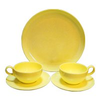 Yellow White Marbled Melmac 5 Pieces Plate Cups Saucers