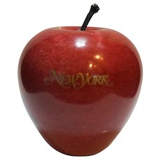 New York Souvenir Red Apple Carved Marble Stone Paperweight