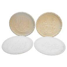 Fenton Bicentennial Plates White Milk Satin Glass Set of 4