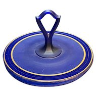 Cobalt Blue Glass Satin Frosted Glass Center Handle Tidbit Tray