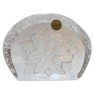 Cristal d'Arques Poinsettia Christmas Paperweight 1999 Lead Crystal