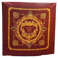 Jones New York XXV Anniversary Silk Scarf Burgundy Gold 34 IN