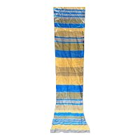 Elorian Original Silk Scarf Blue Beige Grey Striped Oblong