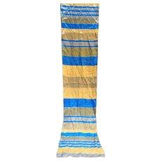 Elorian Original Silk Scarf Blue Beige Grey Striped Oblong