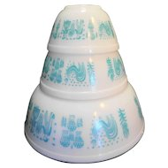 Pyrex Butterprint 3 Mixing Bowl Set 404 402 401 Turquoise White