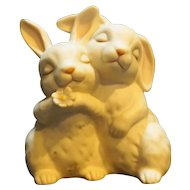 """1990 Homco Double Bunny Rabbits Porcelain Figurine """"He Loves Me"""" Easter"""
