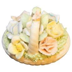 Ardalt Lenwile Japan Bisque Porcelain Roses Flowers Basket Trinket Box
