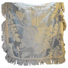 Cream Lace Tablecloths Set With Deep Fringe 1940s