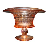 Pink Depression Glass Rolled Rim Thumbprint Urn Vase