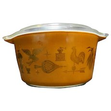 Pyrex Early American Gold on Brown Casseroles 473 1 Qt Sizes Clear Lid Cinderella Handles