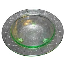 US Glass Rose and Thorn Green Depression Glass 11 IN Bowl
