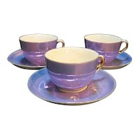 Zeh Scherzer Bavaria Purple Lustre Gold Trim Cups Saucers