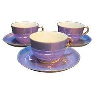 Zeh Scherzer Bavaria Purple Lustre Gold Trim Cups Saucers