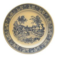 Homer Laughlin Shakespeare Country Chop Plate Blue White
