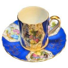 Fragonard Scene Demitasse Cup Saucer Porcelain Blue Gold