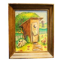 Chadwick Miller Layered Art Outhouse Bathroom Art Framed 1982