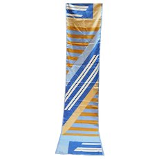 Veresa by Vera Blue Cream Tan Geometric Polyester Scarf