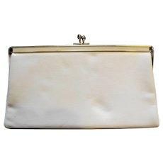 Ande Cream Bone Leather Convertible Clutch Purse