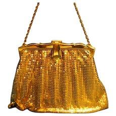 Whiting & Davis Gold Metal Mesh Art Deco Evening Bag