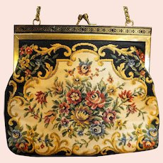 Tapestry Floral Purse Black Gold Tone Frame