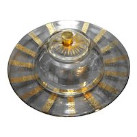 Georges Briard Clear Domed Round Butter Cheese Dish Gold Diamonds