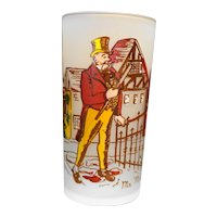 Federal Glass Mr Micawber Dickens Character Frosted Tumbler 5 1/4 IN