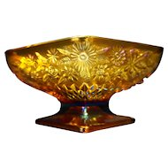 Pineapple & Floral Amber Carnival Indiana Glass Diamond Compote