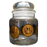 Gold Coins Around The World Decorated Glass Canister Jar