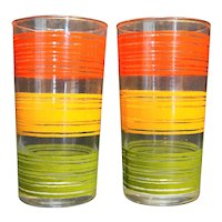 Red Orange Green Stripe Rings Glass Tumblers
