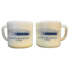 Anchor Hocking Milk Glass Mugs Advertising Hayden-Beardslee Ford