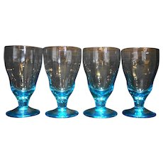 Electric Blue Ribbed Optic Footed Tumblers Set of 4