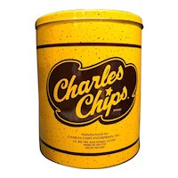 Charles Chips Yellow Brown Tin Canister