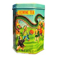 Kwong Sang Tea Co Hong Kong Tin Phoenix Dragon Jasmine Tea
