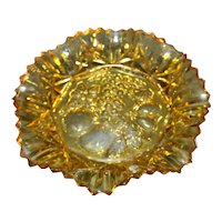 Federal Pioneer Amber 11 In Ruffled Bowl Fruit Intaglio Center