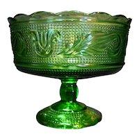 E.O. Brody Green Tulip Pattern Compote Pedestal Bowl M6000