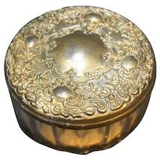 Sterling Silver Embossed Mirror Lid Glass Powder Jar