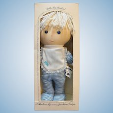 "Pauline Bjonness Jacobsen Tiki Cloth Doll 13"" NIB Blue Gingham Blue Eyes"
