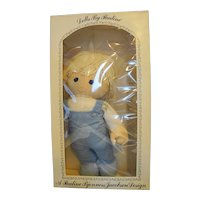 "Pauline Bjonness Jacobsen Dara Big Tot Cloth Doll 18"" NIB Blue Gingham Blue Eyes"