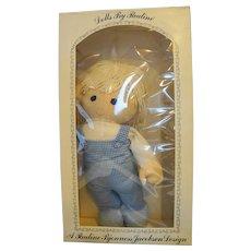 "Pauline Bjonness Jacobsen Dara Big Tot Cloth Doll 18"" NIB Blue Gingham Blue Eyes"