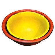 Yellow Red Enamel Mixing Bowls Nesting Pair Vintage